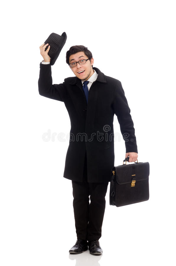 Young man holding suitcase isolated on white stock image