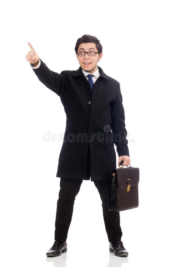 Young man holding suitcase isolated on the white royalty free stock image