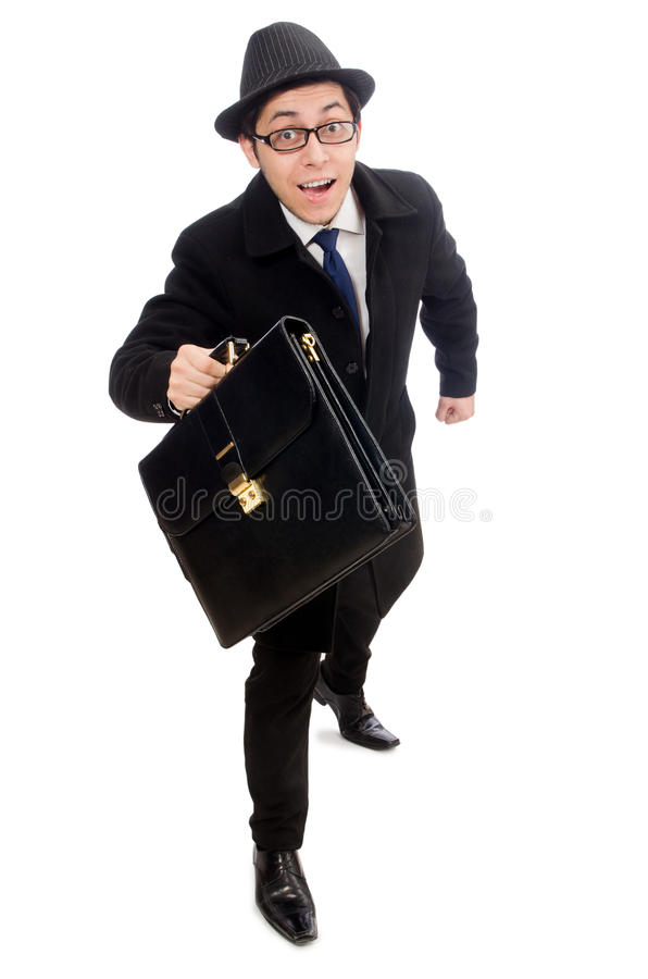 Young man holding suitcase stock photos