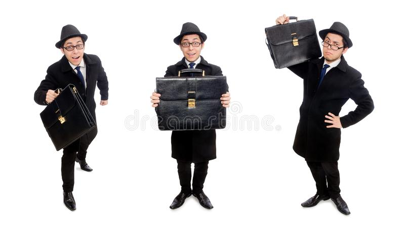 Young man holding suitcase isolated on white stock images