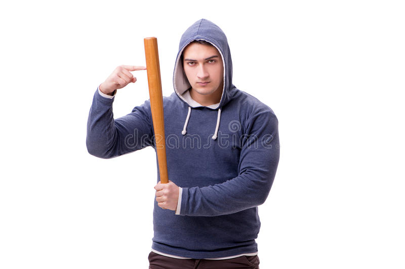 The young man hooligan with baseball bat isolated on white stock image
