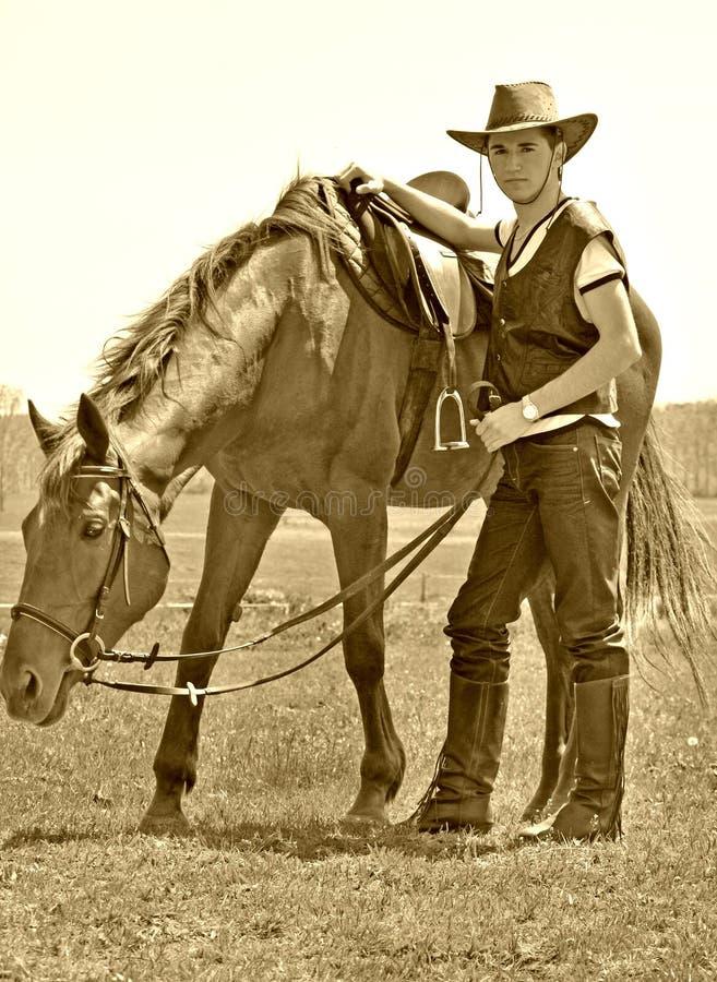 Young man and horse stock photos