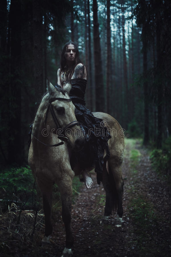 Young man with horse. Young man with long hair with horse in dark forest stock images