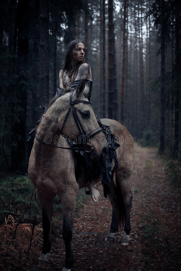 Young man with horse. Young man with long hair with horse in dark forest royalty free stock image