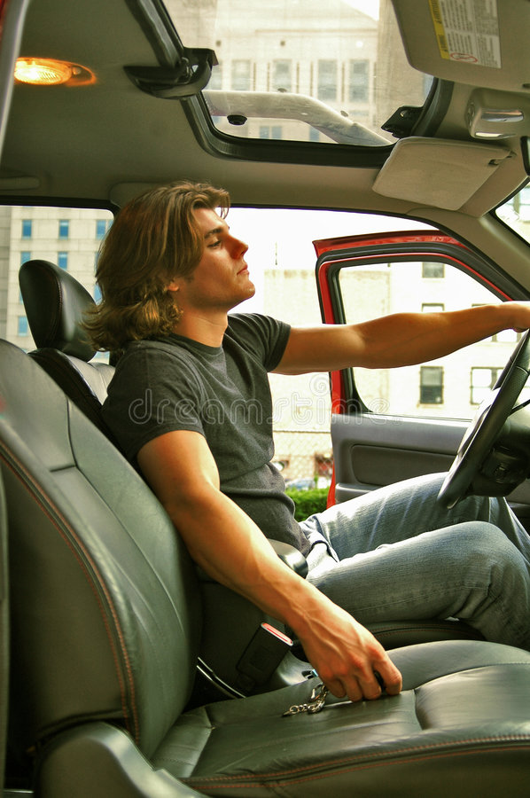 Free Young Man In In He S Car Royalty Free Stock Images - 1243709