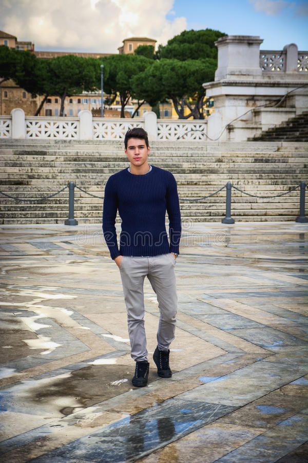 Free Young Man In Rome In Front Of Vittoriano Monument Stock Image - 53927571