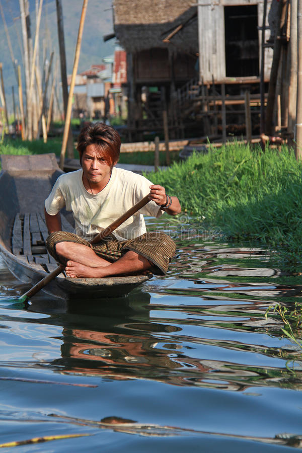 Young man at Inle Lake stock photo