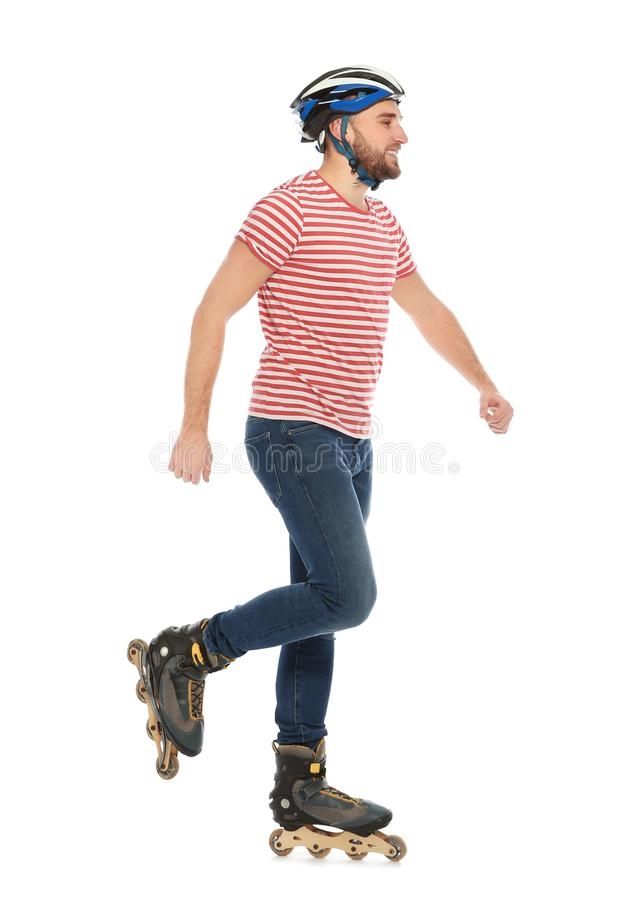 Young man with inline roller skates royalty free stock images