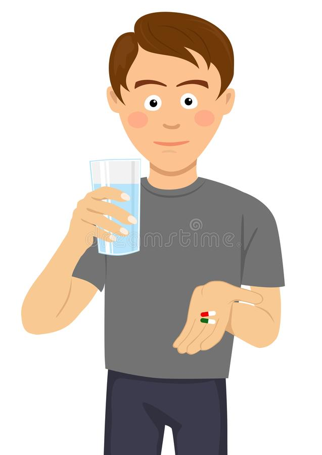 Free Young Man Is Ready To Take Pills Holding A Glass Of Water Royalty Free Stock Image - 115445026