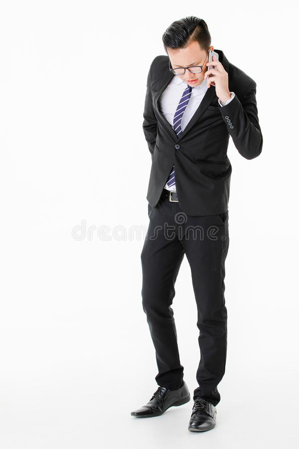 Young man on isolated white background stock image