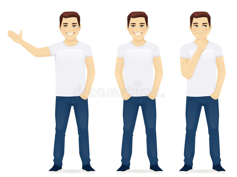 Young man in jeans vector illustration