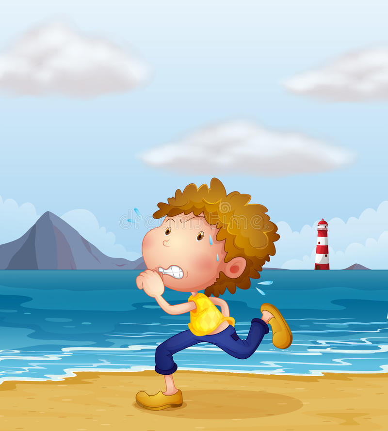 Download A Young Man Jogging Along The Beach Stock Vector - Image: 30697755