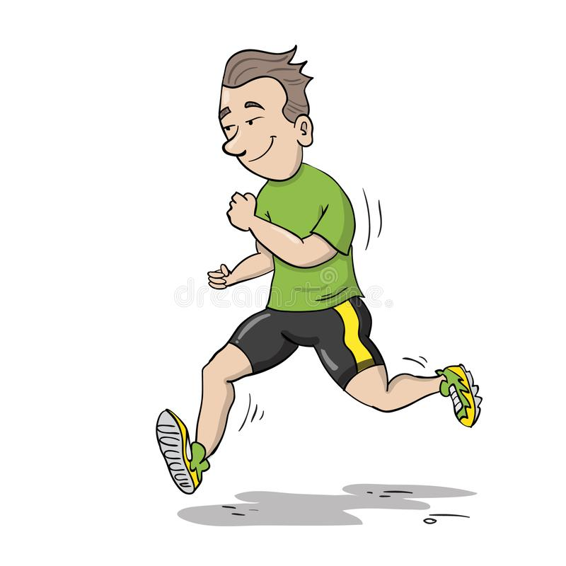 Young man jogging. Young healthy man jogging in a green sports equipment and yellow running shoes vector illustration