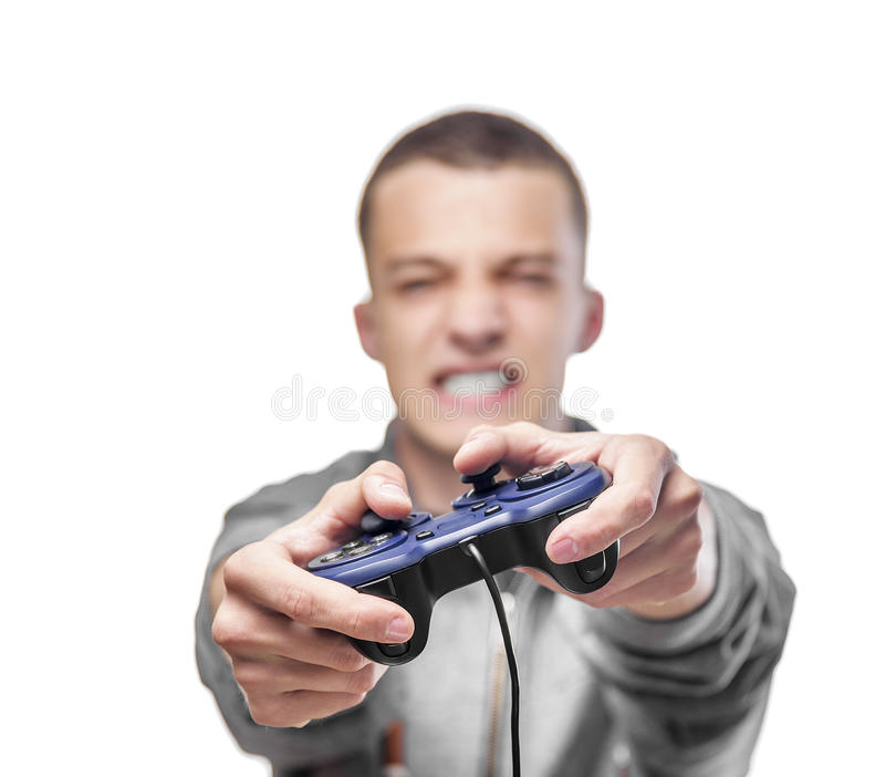 Young man with a joystick stock photography