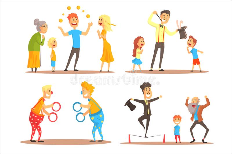 Young man juggling with oranges before his family. Clowns juggling with rings on a circus show. Circus or street actors. Set of colorful cartoon detailed vector royalty free illustration