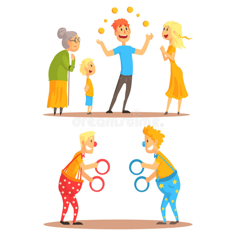 Young man juggling with oranges before his family. Clowns juggling with rings on a circus show. Circus or street actors. Set of colorful cartoon detailed vector stock illustration
