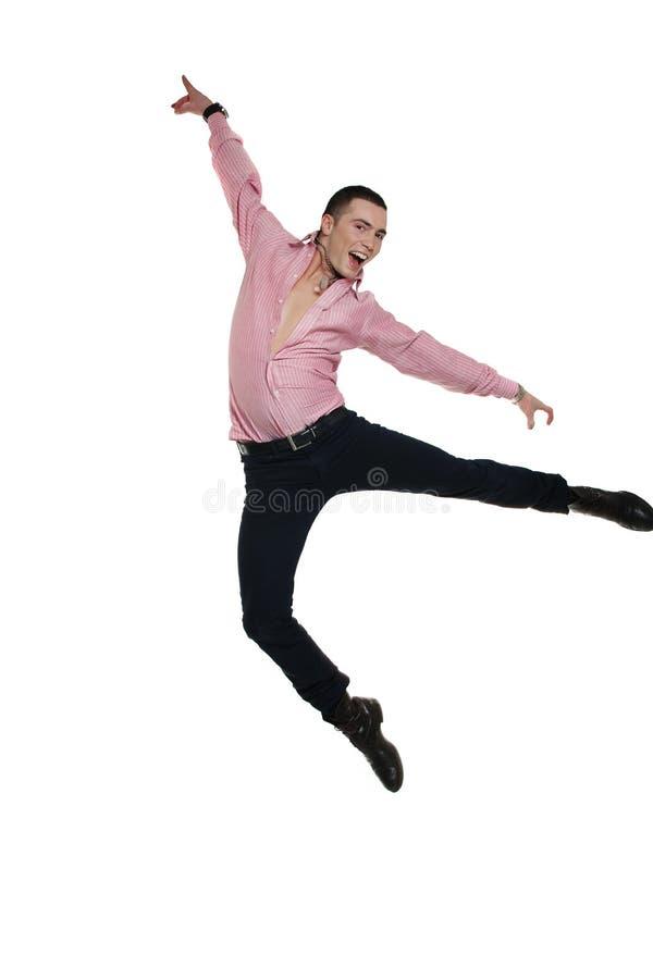 Young man jumping up royalty free stock image
