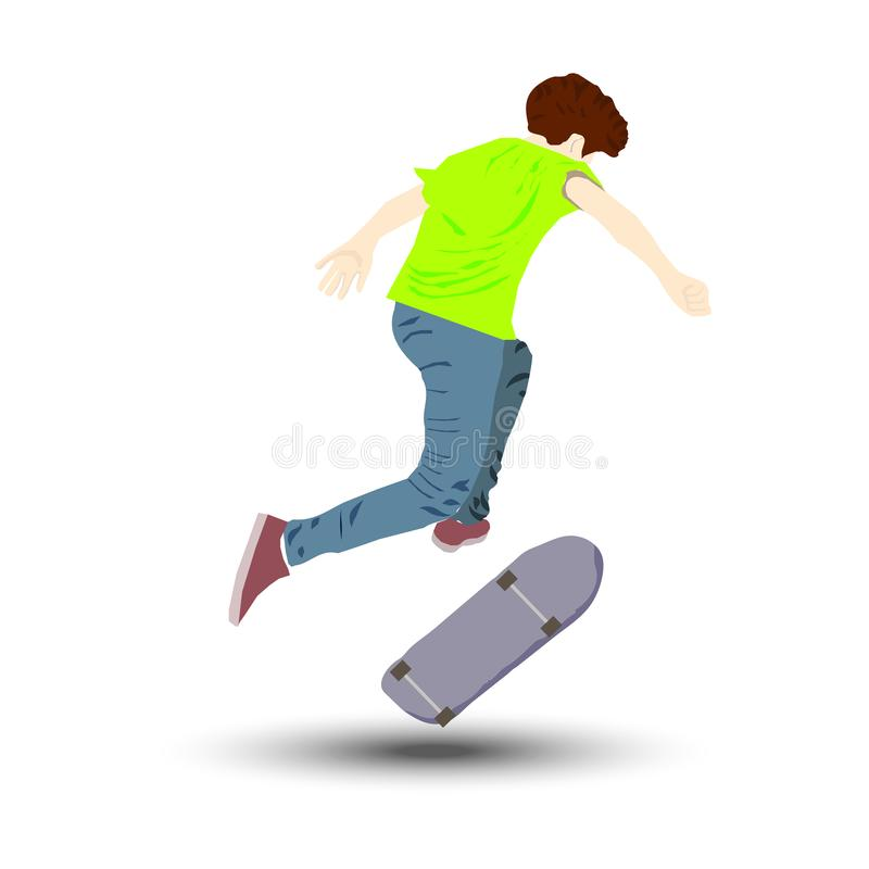 The young man jumps from the skate. Active sports vector illustration