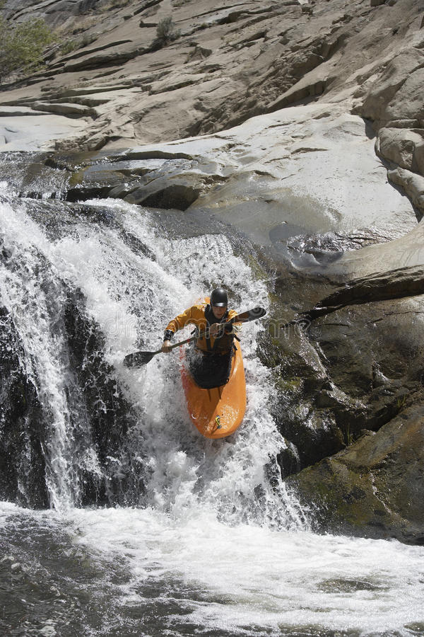 Young Man Kayaking stock photo