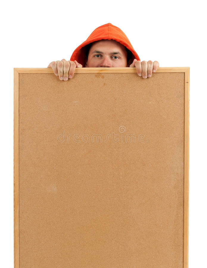 Download Young Man Keeping Cork Board Stock Photo - Image: 15108252