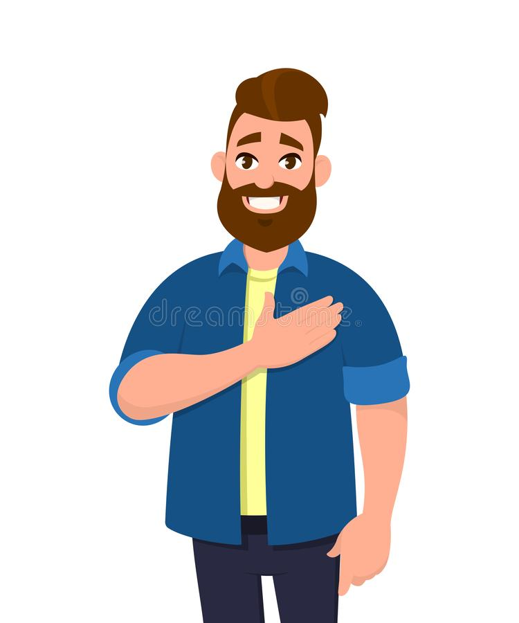 Young man keeping hands on chest. Smiling friendly bearded man expressing gratitude. stock illustration