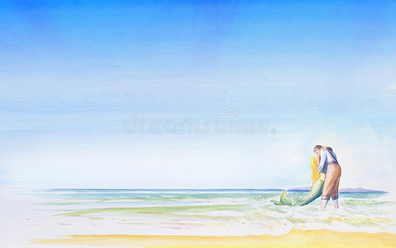 A young man kisses a mermaid by the sea. Romantic light background for your design. Inscription Vacation time. royalty free illustration