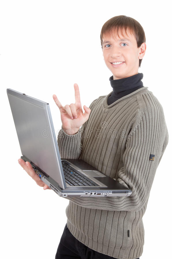 Download Young man with laptop stock photo. Image of education - 12550960