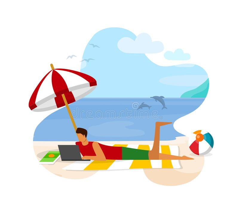 Young Man with Laptop Lying on Sandy Beach Working royalty free illustration