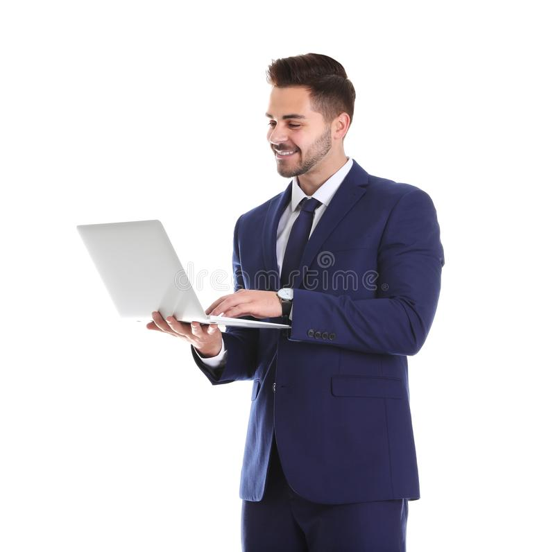 Young man with laptop on white royalty free stock photos