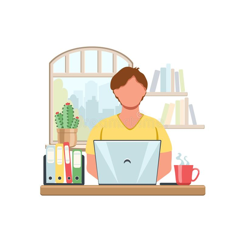 Cartoon Boy Studying At Home With Computer And Books On