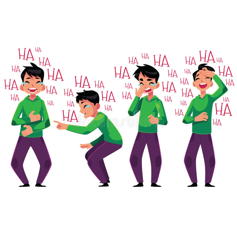 Young man laughing out loud, bent over with laughter. Cartoon vector illustration on white background. Full length portrait of young man bursting with laughter royalty free illustration