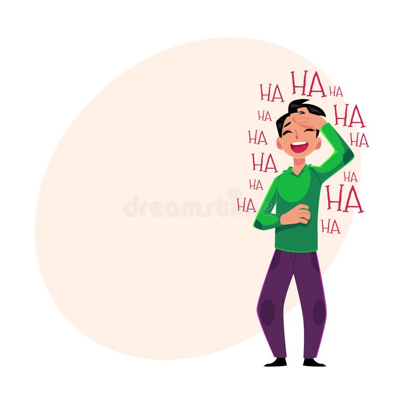 Young man laughing out loud, crying from laughter, holding forehead. Young man laughing out loud, crying from laughter holding forehead, cartoon vector vector illustration