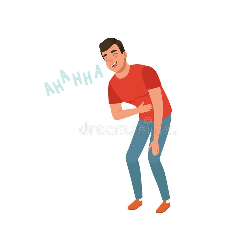 Young man laughing out loud holding his stomach vector Illustration on a white background. Young man laughing out loud holding his stomach vector Illustration royalty free illustration
