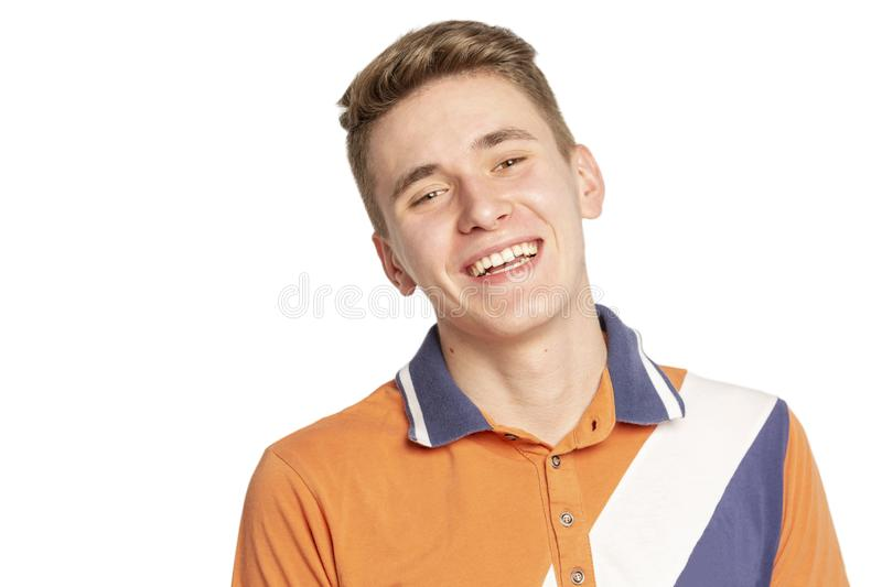 Young man laughs close up royalty free stock images