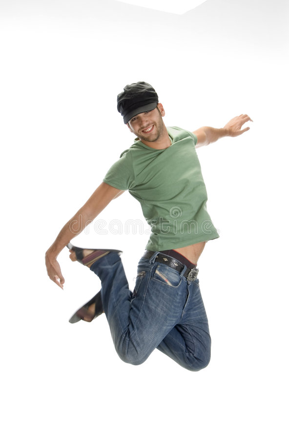 Young man leaps in air