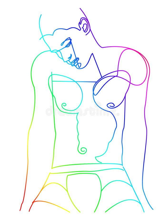 Young man linedrawing with rainbow colors 1/3 royalty free stock photos