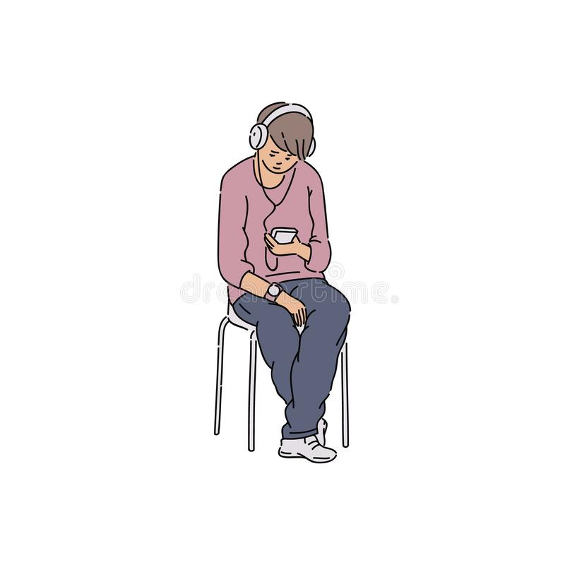 Young man listening to music on headphones stock illustration