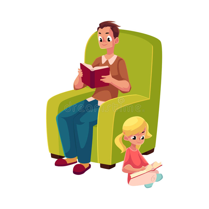 Young man and little girl reading books sitting legs crossed stock illustration