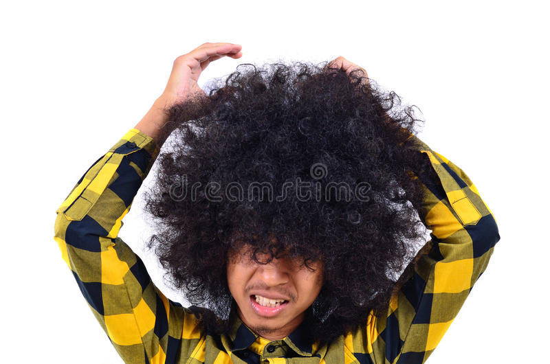 Young man with long hair as busy concept. Close up of Young man with long hair as busy concept royalty free stock images