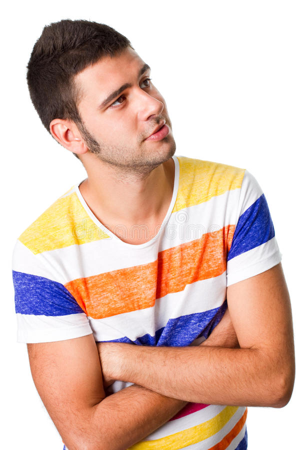 Download Young Man Looking Into Blank Space Stock Photo - Image of folded, facial: 22234868
