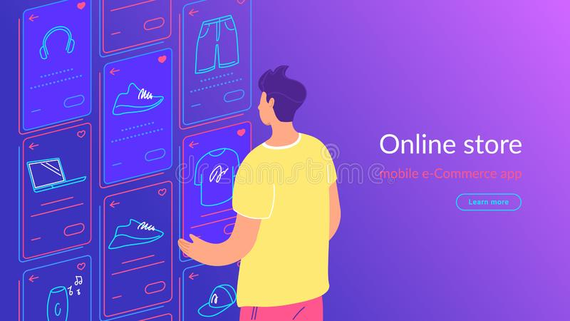 Young man looking at ecommerce favorite items cards, doing shopping, enjoying online services and networks stock illustration