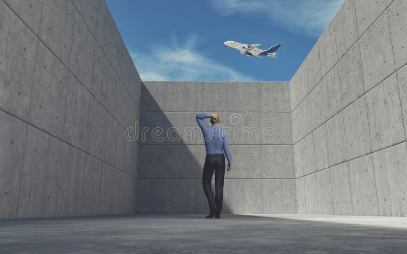 Young man looking over wall stock illustration