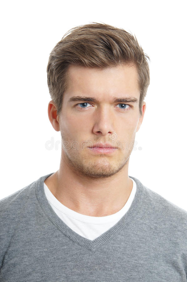 Young man looking serious stock image