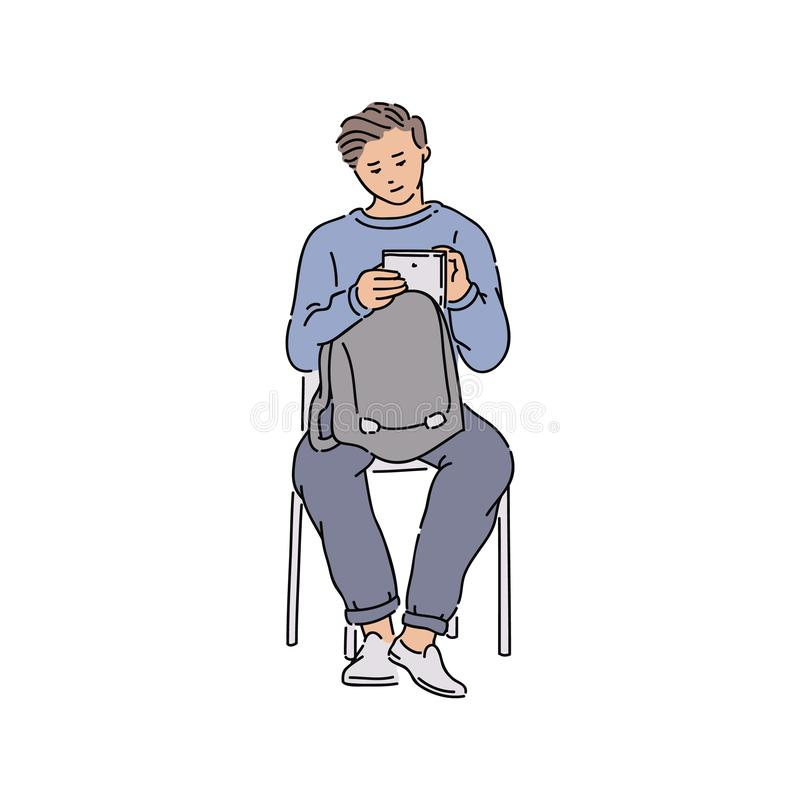Young man looking at tablet, male teenager holding wireless gadget stock illustration