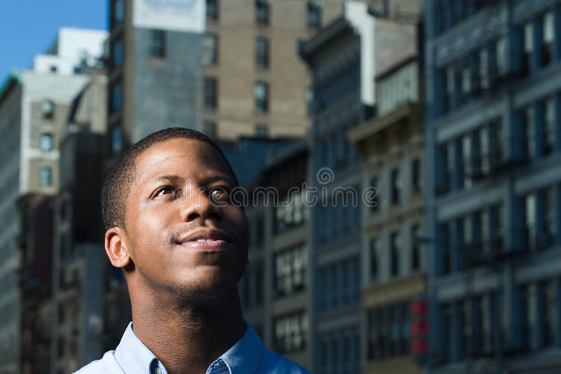 Young man looking up royalty free stock photo