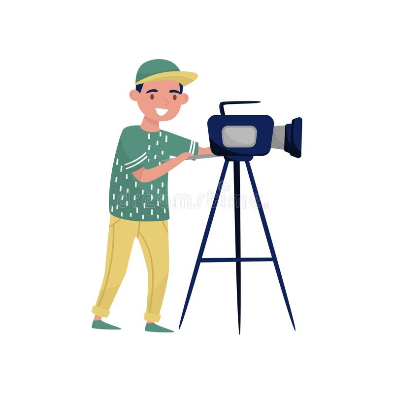 Young man looking through video camera on tripod. Cameraman making movie with professional equipment. Flat vector design. Young man looking through video camera stock illustration