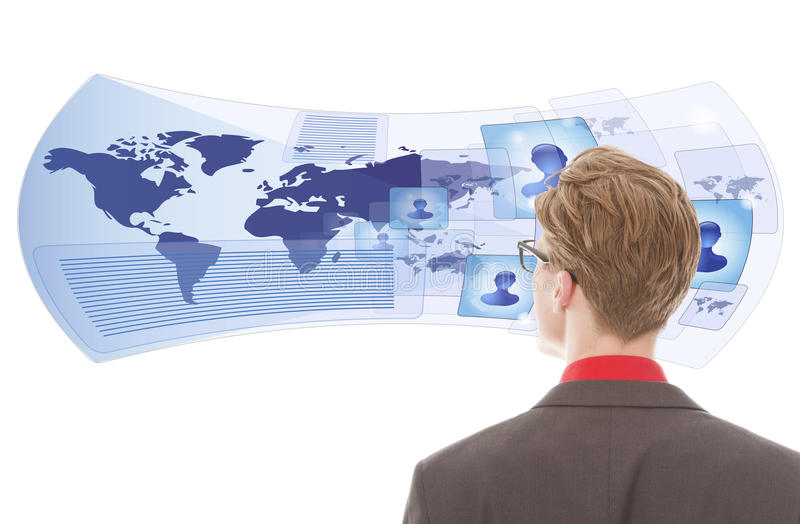 Download Young Man Looking With Virtual Glasses Isolated Stock Photo - Image: 34776210