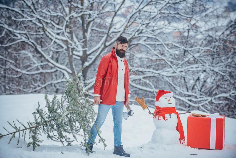 Young man lumberjack is cutting Christmas tree in the wood. Happy father with Christmas tree on a snowy winter walk. A royalty free stock photo