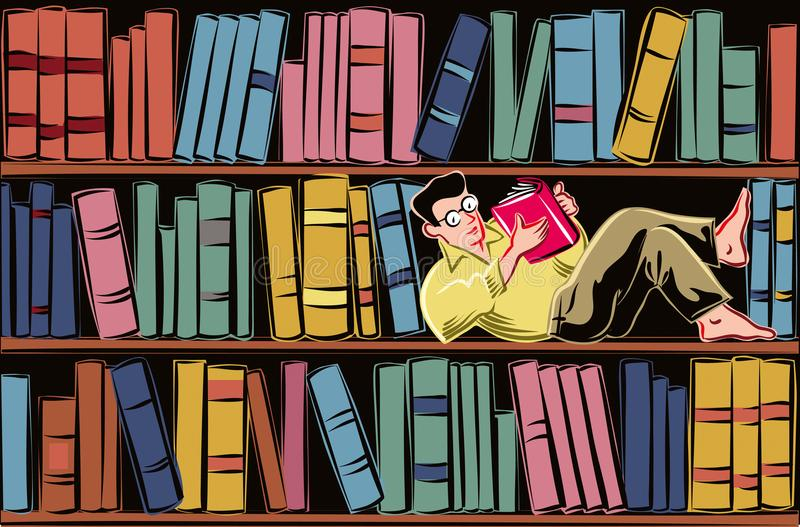 Young man lying on a shelf of a bookcase. Filled with books, completely absorbed in reading a book stock illustration