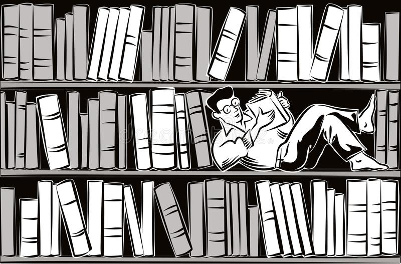 Young man lying on a shelf of a bookcase. Filled with books, completely absorbed in reading a book royalty free illustration